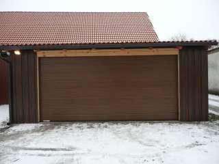 Garážová vrata sekční design LINE-DRÁŽKA, TMAVÝ DUB-ořech, Brno